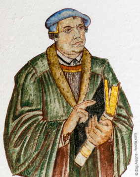 Fresco of the german reformer Martin Luther